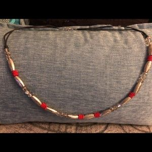 Leather Rope Beaded Necklace